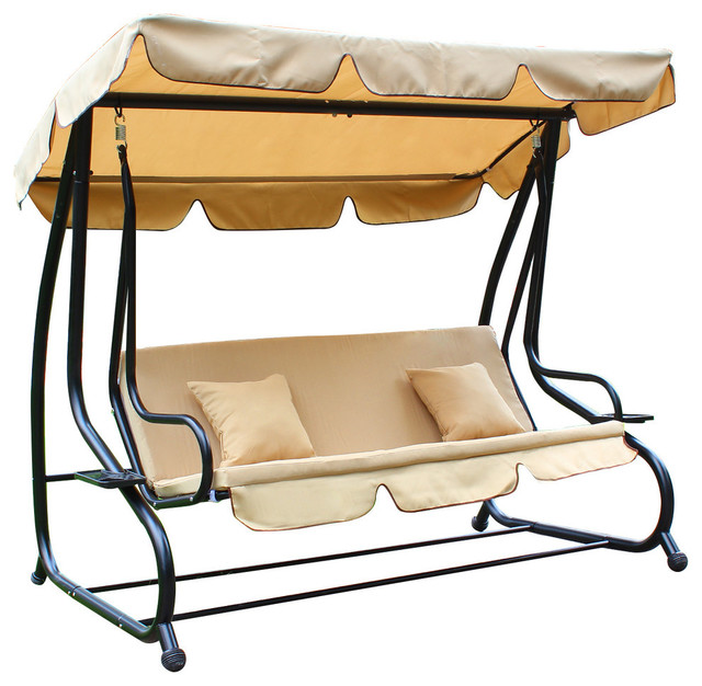 tan deluxe swing bed and chair with frame and canopy