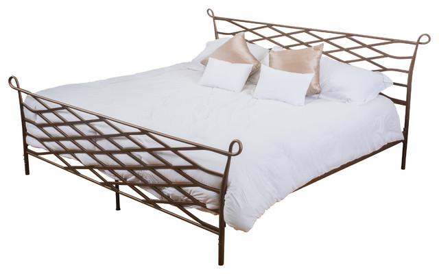 Iron Bed Frames King: Darrah Cal-King Size Iron Bed Frame, Brown