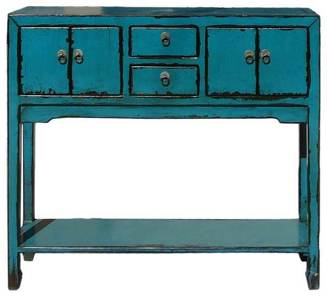 Rustic Narrow Foyer Table : Consigned chinese rustic bright blue narrow slim foyer
