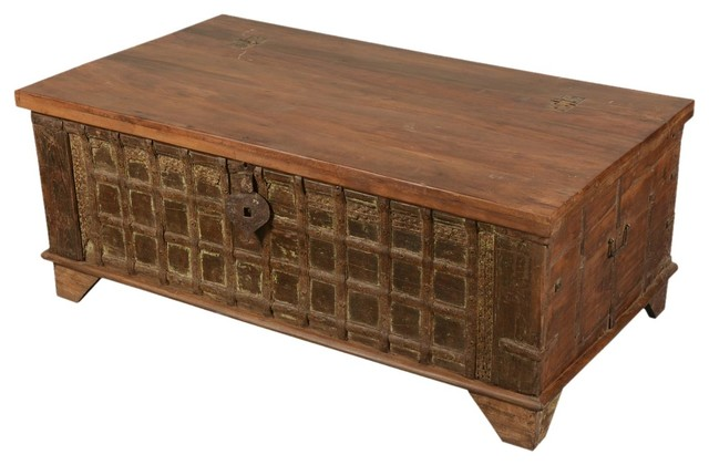 iron gate front reclaimed wood standing coffee table chest. Black Bedroom Furniture Sets. Home Design Ideas