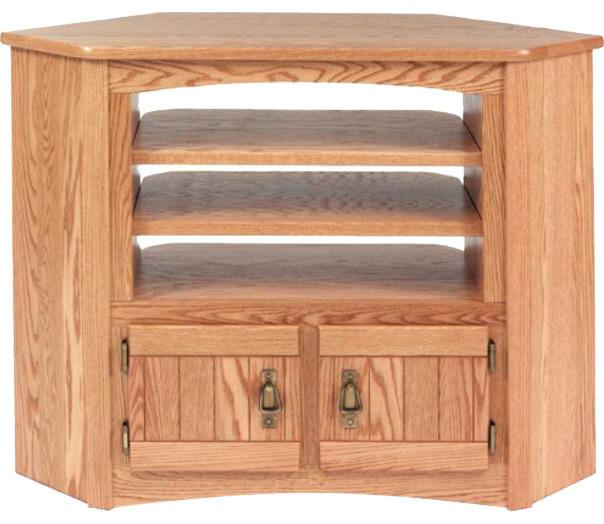Solid Oak Mission Style Corner Tv Cabinet Autum Oak