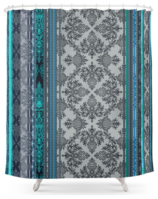 Teal Aqua And Gray Vintage Bohemian Wallpaper Stripes Shower Curtain Shower Curtains By