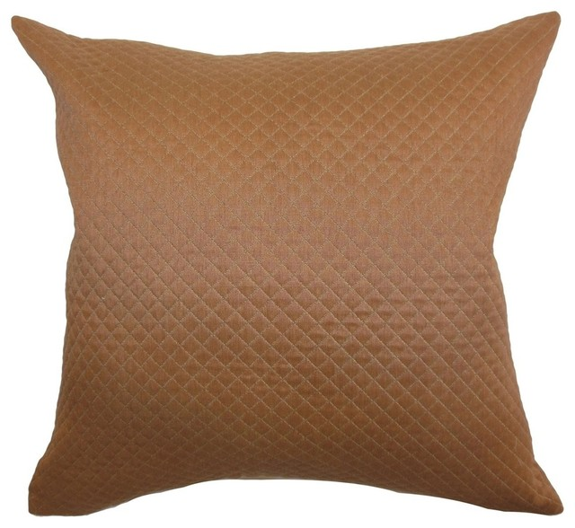 Traditional Accent Pillows : Ochs Quilted Pillow Brown 18