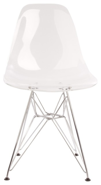 eames style side chair clear with metal base dining