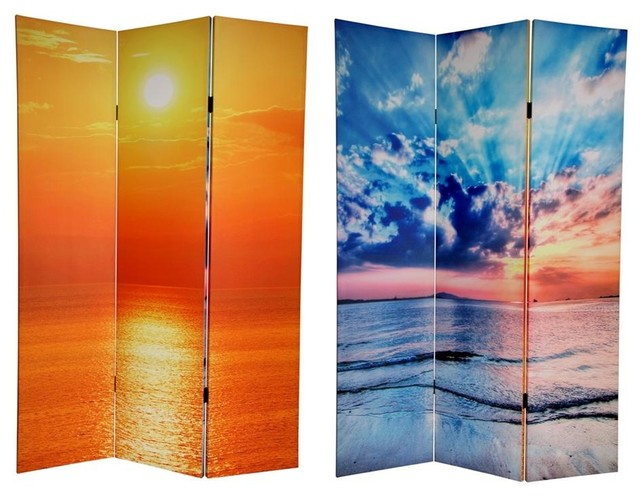 Double Sided 6 Ft Tall Sunrise Canvas Privacy Screen 3