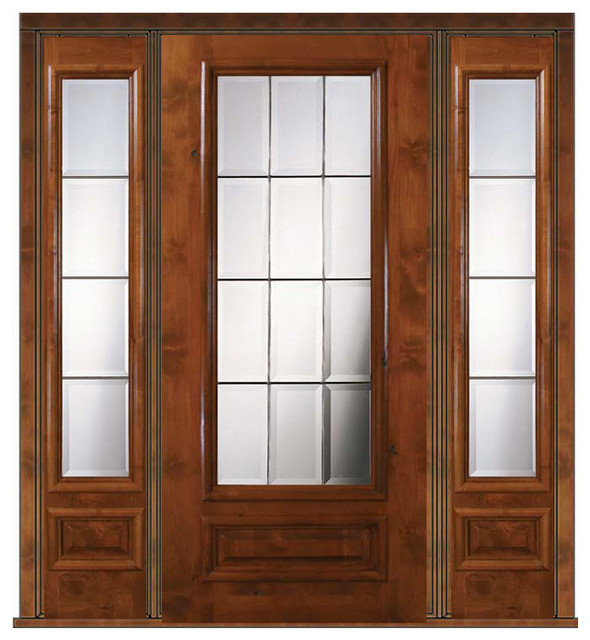 Prehung french sidelites door 80 wood alder french 3 4 for All glass french doors
