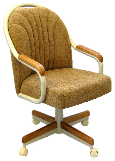 Casual Swivel Tilt Rolling Caster Dining Arm Chair Set Of