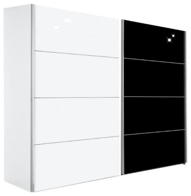 kick 252cm verre noir brillant et melamin blanc mat avec. Black Bedroom Furniture Sets. Home Design Ideas