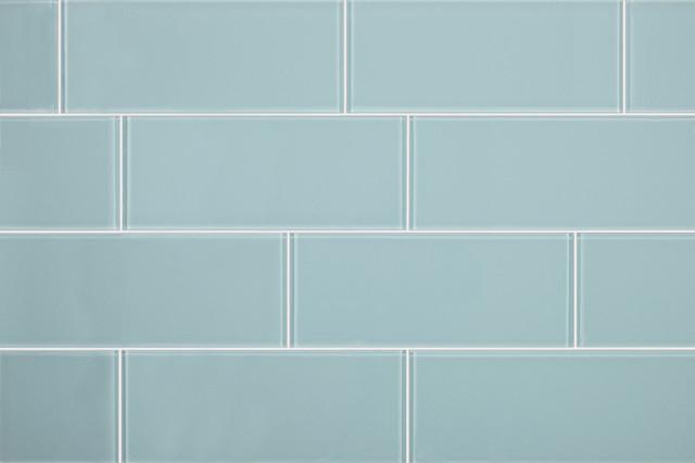 3x8 Aqua Blue Glass Subway Tile - Modern - Tile - by All Marble Tiles