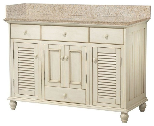 Cottage vanity with granite top beige antique white 49 - White cottage style bathroom vanities ...