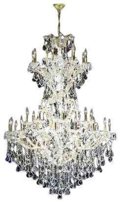 Maria Theresa 19 Light Chrome Finish Golden Teak Royal Crystal Grand Chandelier
