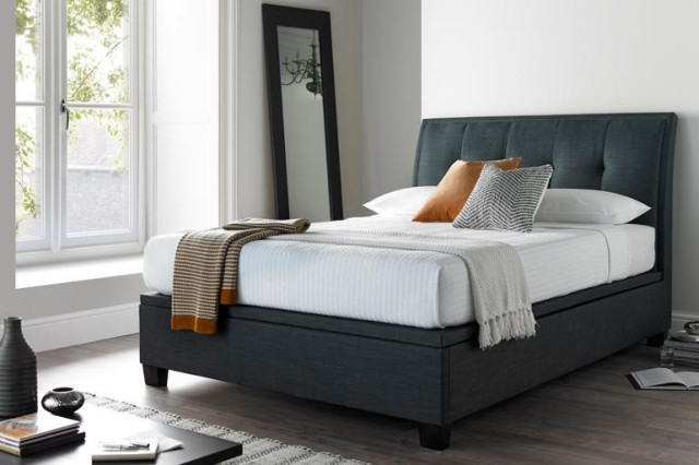 5ft king size accent ottoman bed in smoke grey. Black Bedroom Furniture Sets. Home Design Ideas