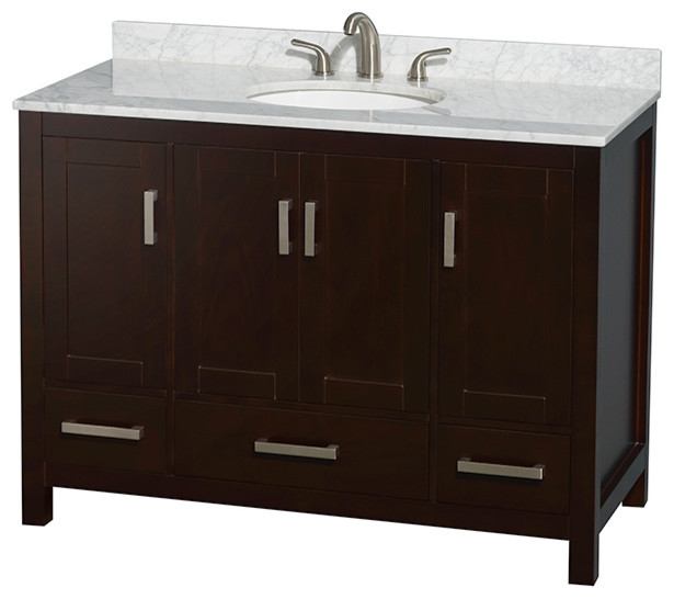 Sheffield 48 espresso single vanity carrera marble top for Marble top console sink