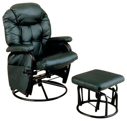 Black Metal Swivel Rocker Recliner With Ottoman More Info