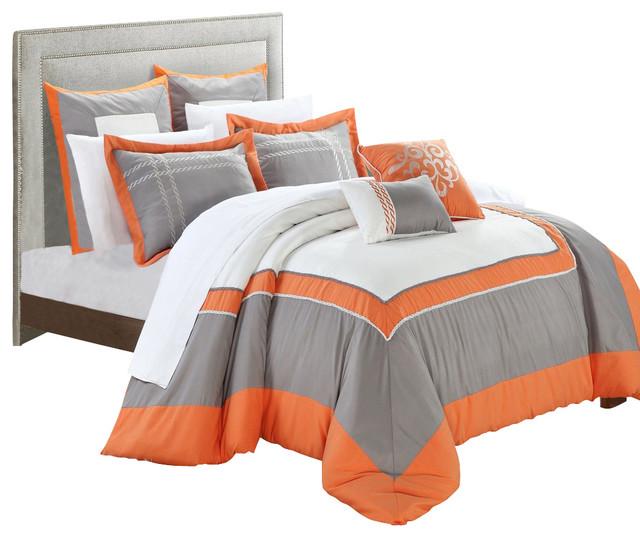 Ballroom orange gray and white king 11 piece comforter - Orange and grey comforter ...