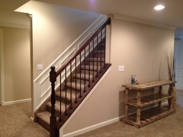 Novi finished basement traditional basement detroit for Stair and railing solution