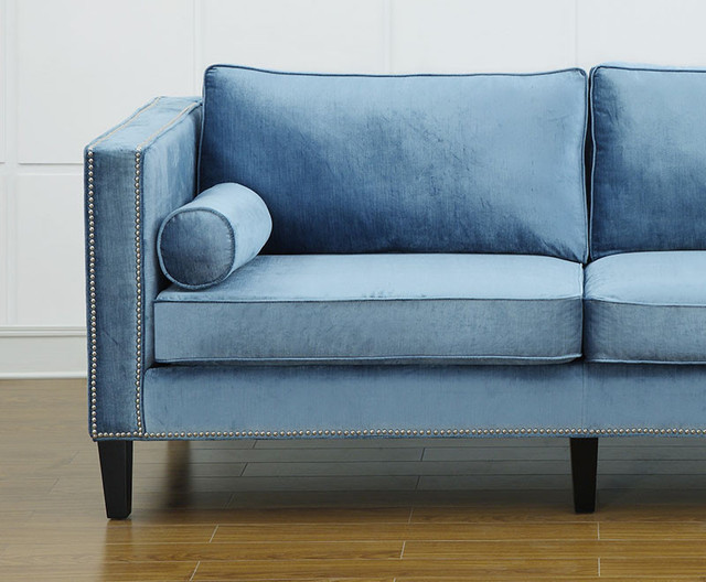 Cyprian blue velvet sofa midcentury indoor chaise for Blue chaise lounge indoor