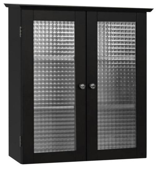 2 door wall cabinet with glass doors transitional bathroom