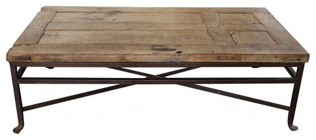 Greyson Living Windham Solid Birch Iron Coffee Table And Antique Wood Door Coffee Table