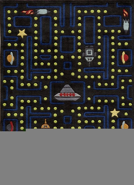 Lil Mo Whimsy Arcade Black Kids Games 5' Round Momeni Rug by RugLots modern-rugs