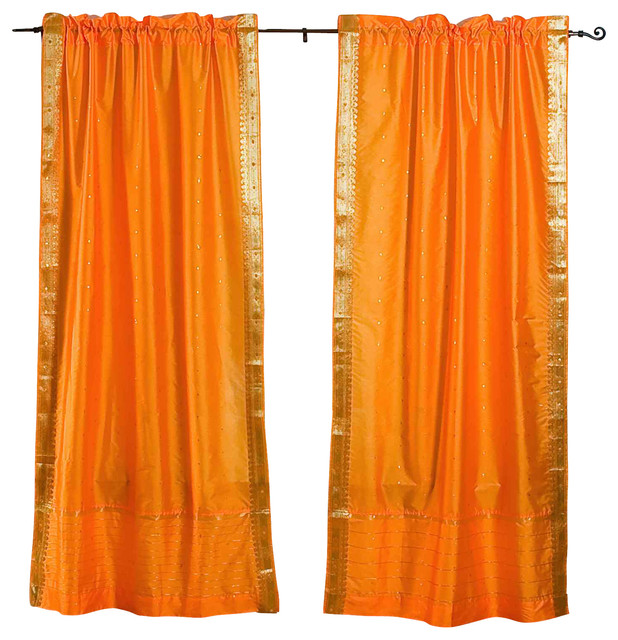 Pumpkin 84 Inch Rod Pocket Sheer Sari Curtain Panel India Pair Mediterranean Curtains