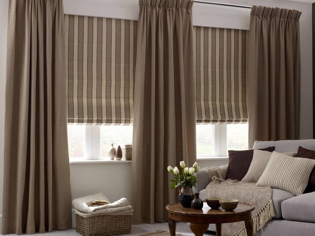 St ive 39 s sandy beige roman blind rustic roman blinds - Houzz window treatments living room ...