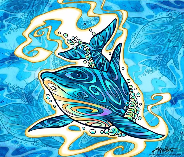 Dolphin daydream wall mural contemporary wallpaper for Dolphin mural wallpaper