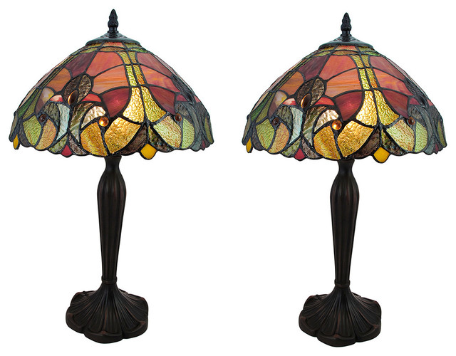 Set Of 2 Baroque Style Stained Glass Table Lamps