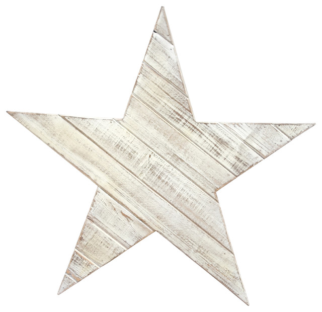 White Star Wall Decor : Wooden star wall decor distressed white medium rustic