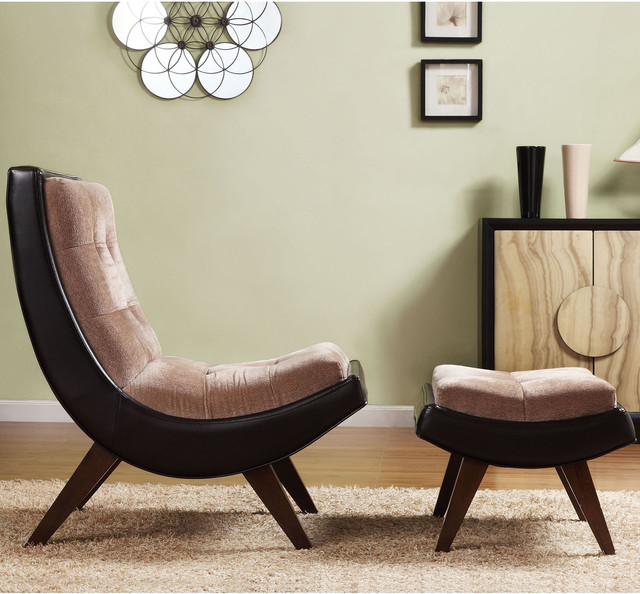 INSPIRE Q Albury Two Tone Lounging Chair With Ottoman Contemporary Footst