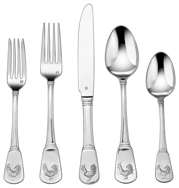 20 Piece Elite Flatware Set French Rooster Collection