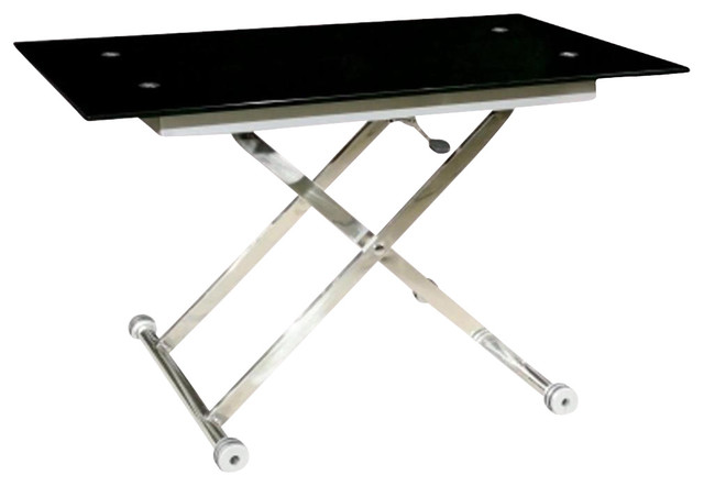 X Base Adjustable Height Table W Black Glass Top