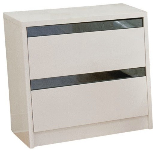 Modern High Gloss Nightstand With 2-Drawers, White contemporary ...