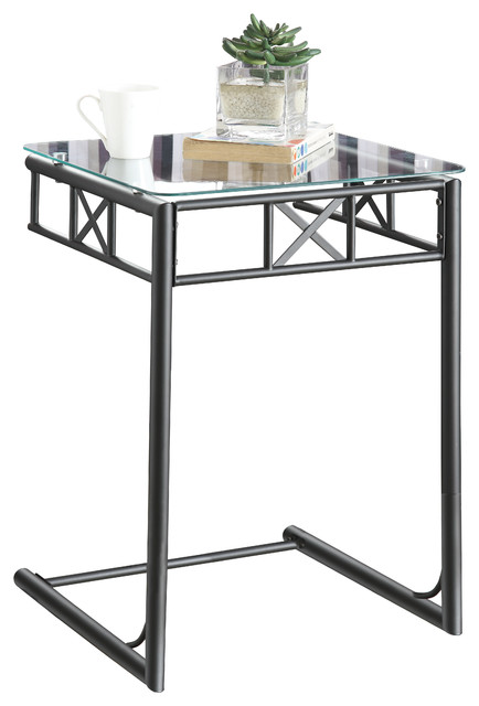 Black Metal Snack Table With A Tempered Glass Top Transitional Coffee And Accent Tables By
