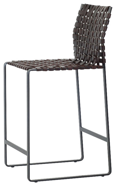 Woven High Back Counter Stool Black Steel Dark Brown