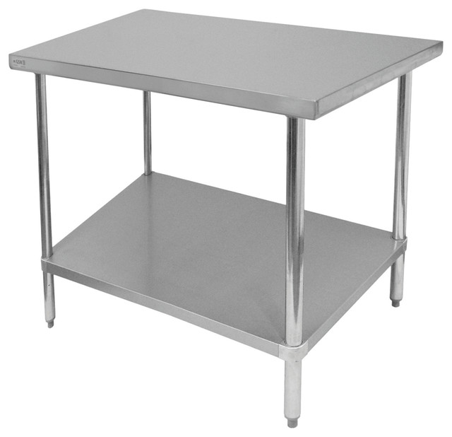 "Commercial Kitchen Island: 30"" Deep Commercial Duty Stainless Steel Flat Top Work"