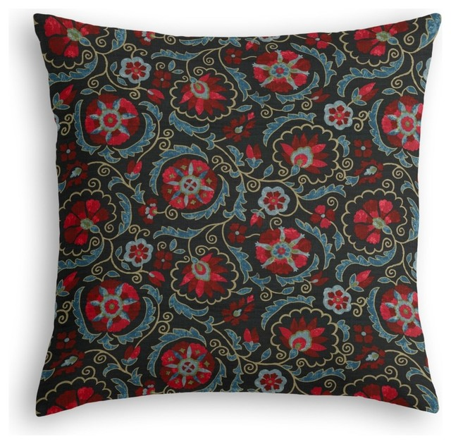 Blue Red Throw Pillow : Red and Navy Blue Suzani Throw Pillow - Mediterranean - Decorative Pillows - by Loom Decor