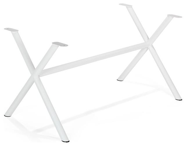 Vario lazer pi tement en croix en acier blanc - Pied de table contemporain ...