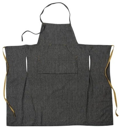 Herringbone Grand Aprons Set Of 2 Black Contemporary