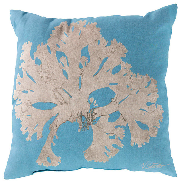 Teal and Cream Coral Print Pillow 3 - 18