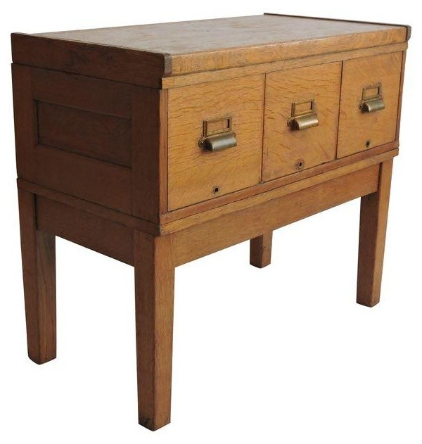 Tiger Oak Filing Cabinet Library Table Circa 1919 - Modern - Storage Cabinets - by Chairish