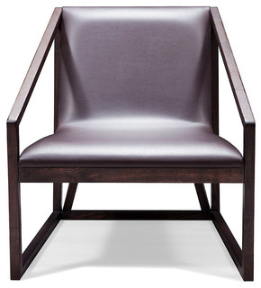 Modern wood and leather lounge chair modern chaise for Modern leather chaise longue