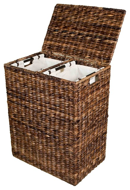 Bird Rock Home Abaca Divided Laundry Hamper Tropical