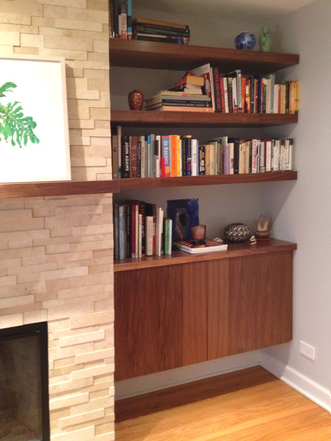 Built In Walnut Wood Shelves And Cabinet