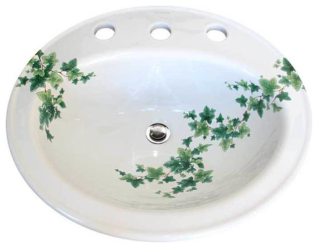 Ivy Hand Painted Drop In Basin Traditional Bathroom Sinks By Decorated