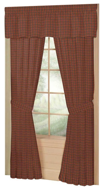 Tan and Blue Plaid,Red Pink Line Window Curtain 40X80 Pl ...
