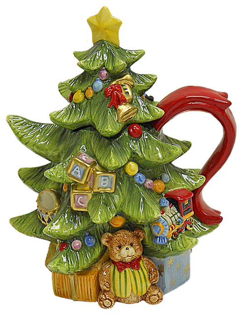 Kitchen lighting ceiling blue tea kitchens - Toyland Christmas Tree Teapot Traditional Teapots By