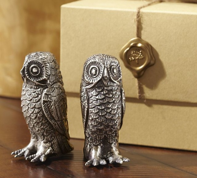 Owl metal salt pepper shakers traditional salt and pepper shakers and mills by pottery barn - Owl salt and pepper grinders ...