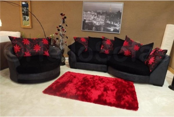 Waltzer black chaise fabric sofa modern sofas other for Black fabric sectional sofa with chaise