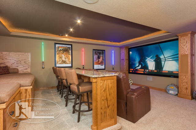 Star Wars Themed Home Theater Traditional Basement